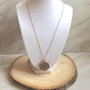 Flower Aromatherapy Pendant Rose Gold Necklace